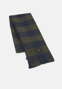 KnowledgeCotton Apparel - JUNIPER CHECKED SCARF UNISEX - Scarf - total eclipse - 0