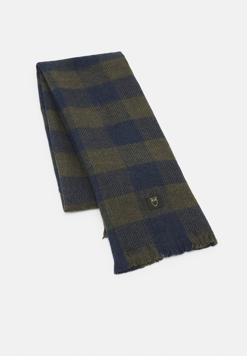 KnowledgeCotton Apparel - JUNIPER CHECKED SCARF UNISEX - Scarf - total eclipse