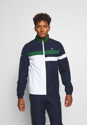 SET - Trainingspak - navy blue/white/green/wasp