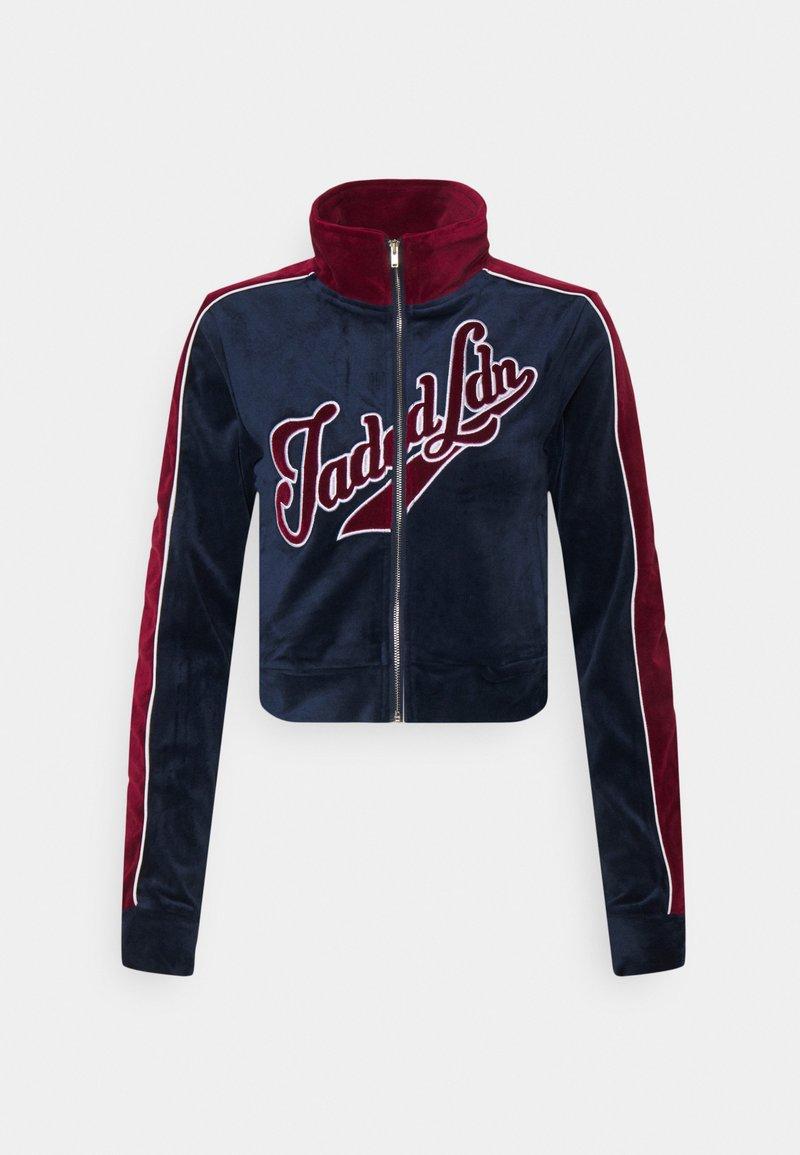 Jaded London - ZIP THROUGH TRACK TOP WITH EMBROIDERY - Zip-up sweatshirt - navy/burgundy