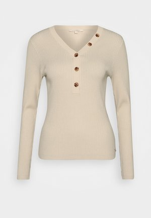HENLEY WITH BUTTONS - Jumper - soft creme beige