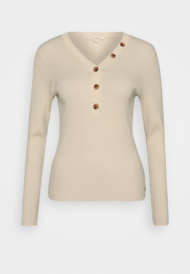 HENLEY WITH BUTTONS - Neule - soft creme beige