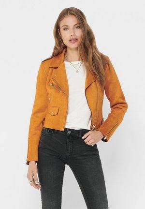 Faux leather jacket - pumpkin spice