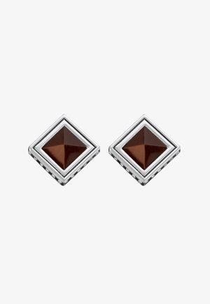 Earrings - silver-coloured/brown