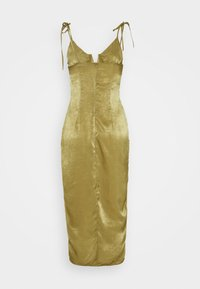 Missguided - TIE STRAP PLUNGE DETAIL MIDI DRESS - Cocktail dress / Party dress - khaki - 1