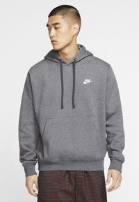 Nike Sportswear - CLUB HOODIE - Hoodie - charcoal heather/anthracite/white - 0