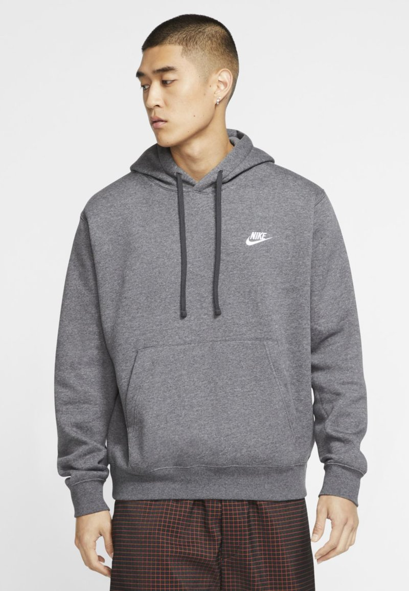 Nike Sportswear - CLUB HOODIE - Hoodie - charcoal heather/anthracite/white