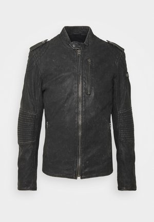 STIGO - Leather jacket - black stone wash