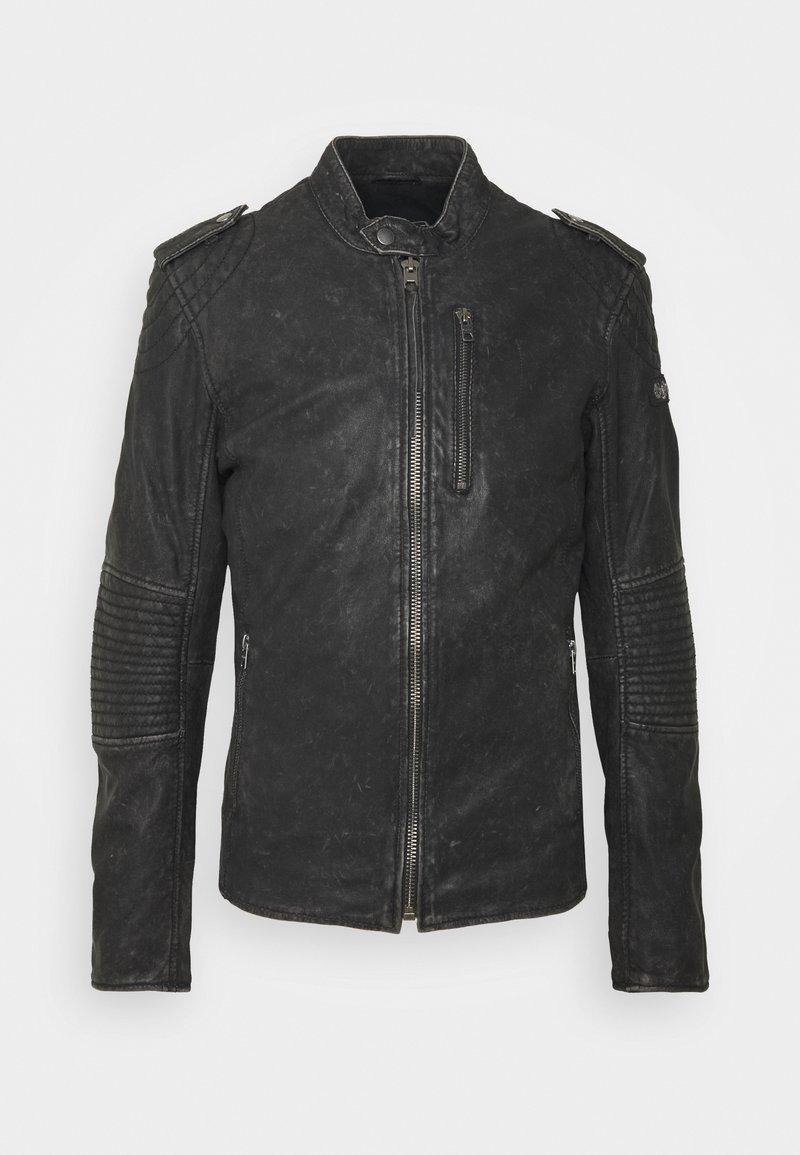 Tigha - STIGO - Leather jacket - black stone wash