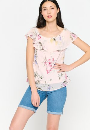 WITH OPEN SHOULDERS AND FLOWERS - Blouse - nude