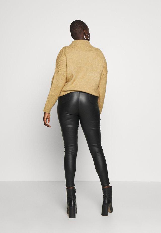 COATED HIGH WAIST SHAPER JEGGINGS - Kalhoty - black