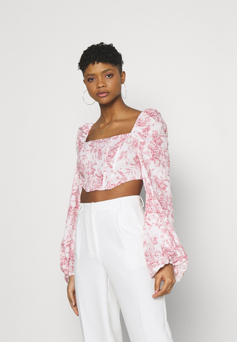 Missguided - PRINTED BALLOON SLEEVE CORSET - Long sleeved top - white