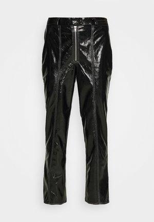 CONTRAST SEAM PANTS - Trousers - black