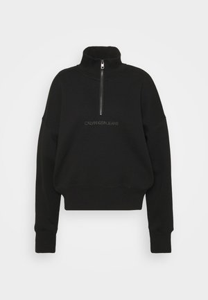 BACK REFLECTIVE LOGO HALF ZIP - Sweatshirt - black