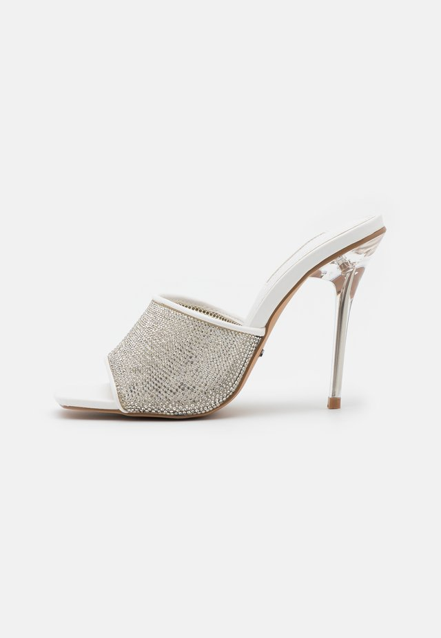 RATTLE DIAMONTE MULE - Heeled mules - silver