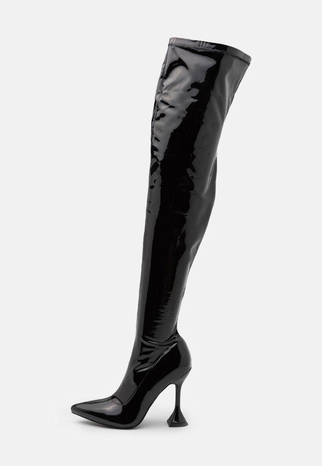 LUSH - Kozačky na vysokém podpatku - black