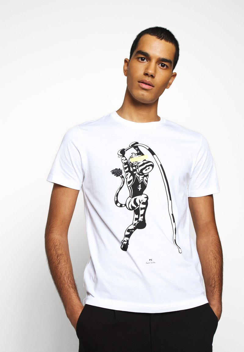 PS Paul Smith - MENS SLIM FIT VAULT ZEBRA - Print T-shirt - white