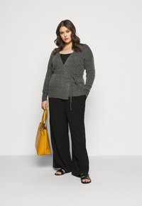 Kaffe Curve - KCWELLY WRAP - Cardigan - dark grey mélange - 1
