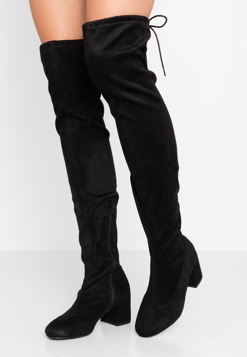 Miss Selfridge Wide Fit - WIDE FIT OSLO LOW BLOCK - Over-the-knee boots - black
