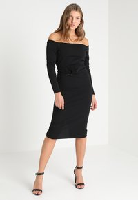 Lost Ink - RING DETAIL BARDOT MIDI BODYCON - Fodralklänning - black - 0