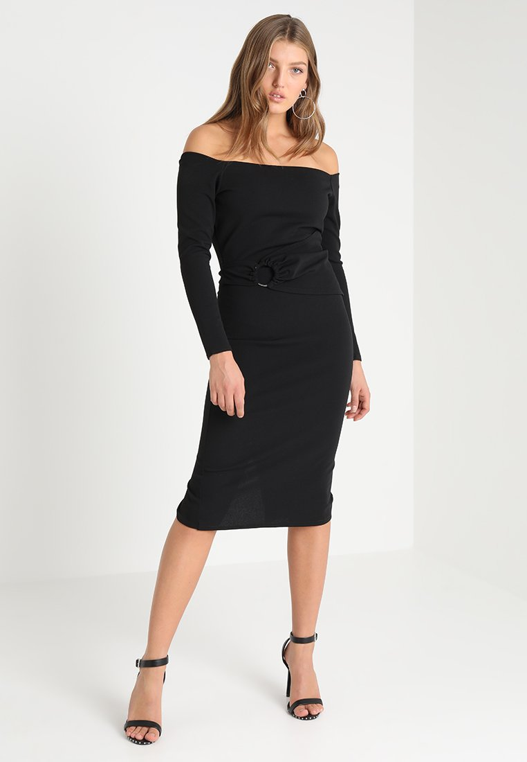Lost Ink - RING DETAIL BARDOT MIDI BODYCON - Fodralklänning - black