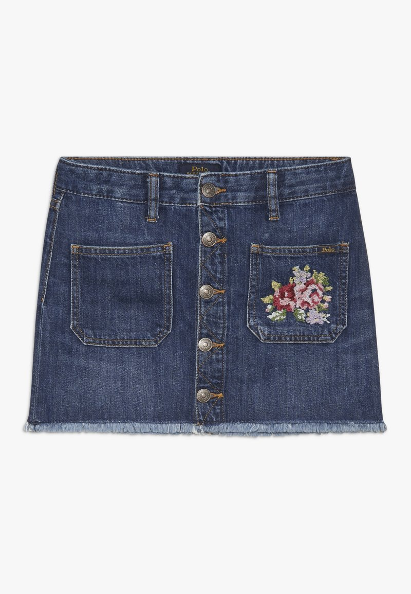 Polo Ralph Lauren - BUTTON SKIRT - Denim skirt - netty wash