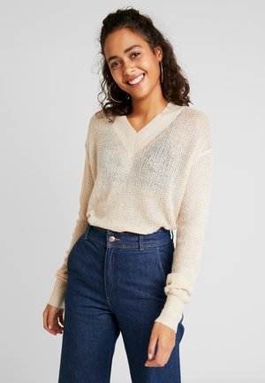 V NECK SHEER JUMPER - Jumper - cream