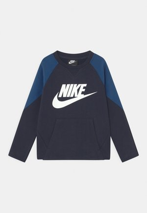 MIXED MATERIAL CREW - Sweater - blue