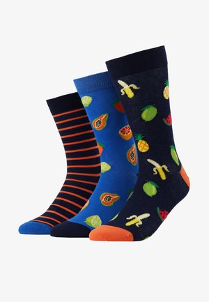 3 PACK - Chaussettes - dark blue/blue/orange