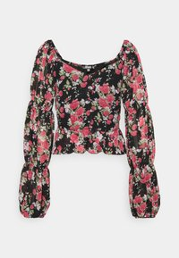 Missguided - FLORAL BUTTON THROUGH PUFF SLEEVE BLOUSE - Blůza - black - 0