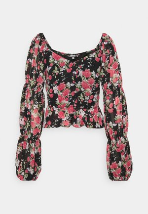 FLORAL BUTTON THROUGH PUFF SLEEVE BLOUSE - Blouse - black