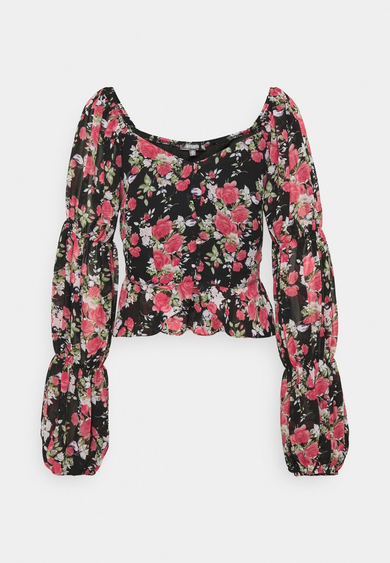 Missguided - FLORAL BUTTON THROUGH PUFF SLEEVE BLOUSE - Blůza - black
