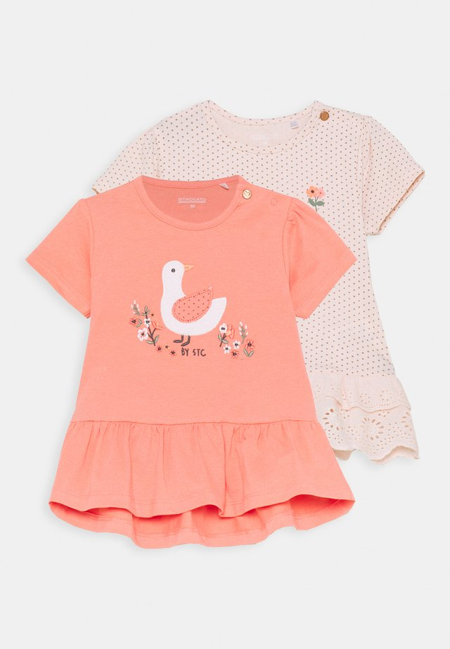 2 PACK - Print T-shirt - apricot/light pink