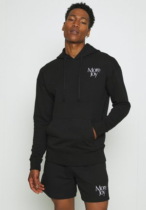 MORE JOY EMBROIDERED CLASSIC HOODY UNISEX - Hoodie - black/white