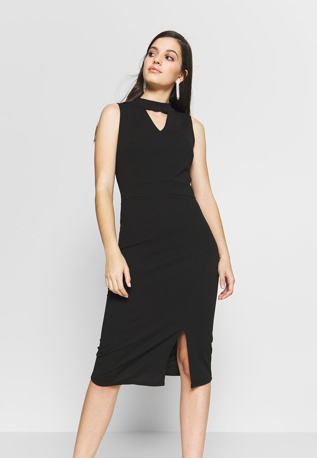 HOLE NECK MIDI DRESS - Denim dress - black