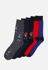Jack & Jones - JACORG DOG SOCK 5 PACK - Ponožky - dark grey melange/black/navy blazer - 0