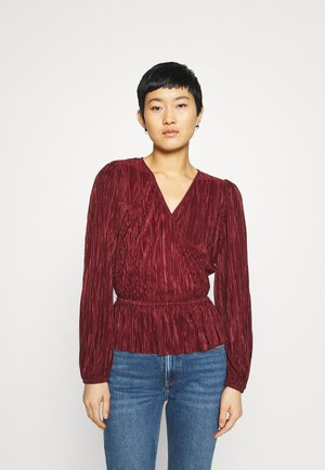 SHINE PEPLUM WRAP - Long sleeved top - fire brick