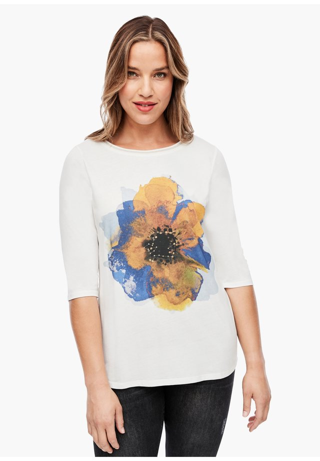 Long sleeved top - cream flower print
