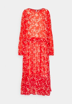 BUGA DRESS - Maxi šaty - tomato red/white