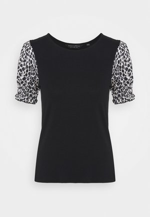 ANIMAL PUFF SLEEVE TEE - Print T-shirt - black