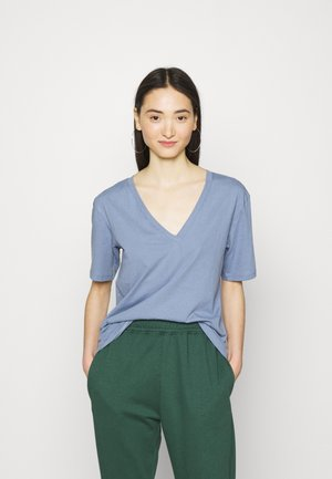 LAST VNECK - Basic T-shirt - blue/grey
