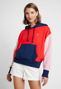 Tommy Jeans - COLORBLOCK HOODIE - Hoodie - black iris/multi - 0