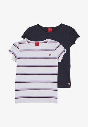 Print T-shirt - white stripes/navy
