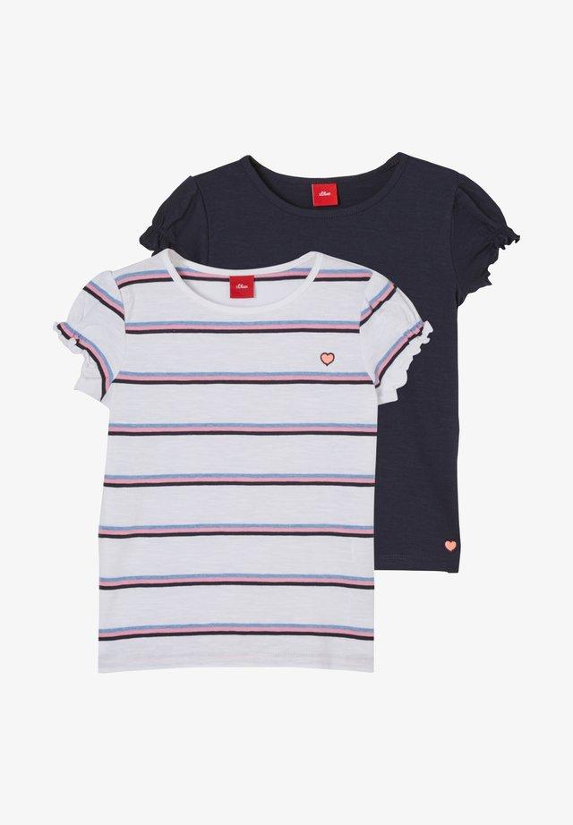 T-shirt print - white stripes/navy