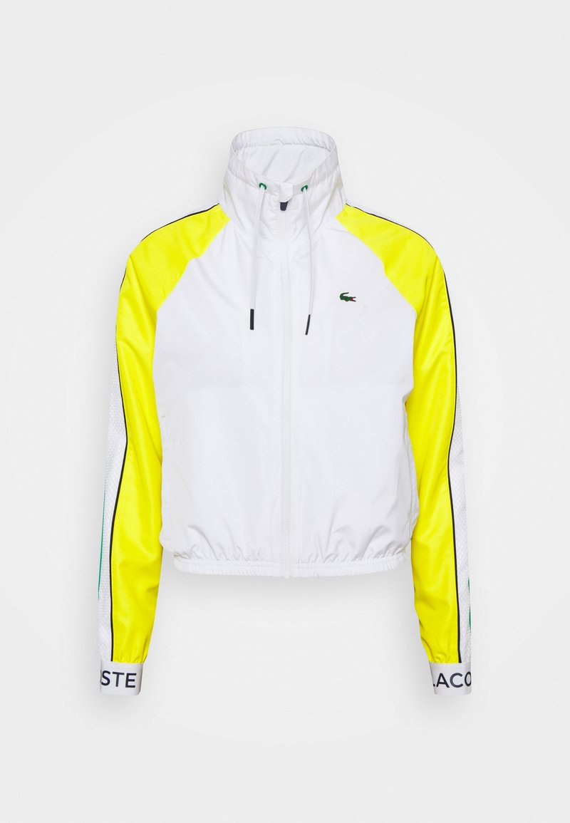 Lacoste Sport - TRACKJACKET - Training jacket - white/palm green/pineapple/navy blue