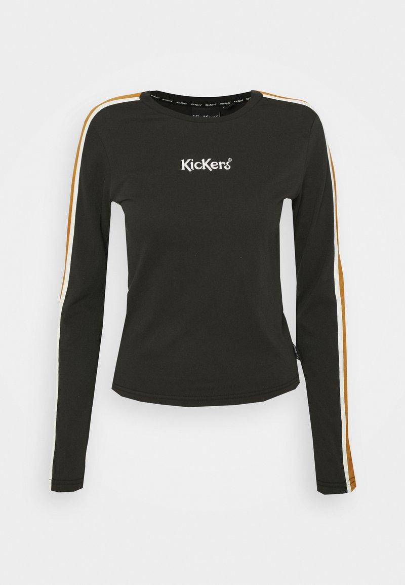 Kickers Classics - SLEEVE PANEL LONGSLEEVE RINGER - Maglietta a manica lunga - black/brown