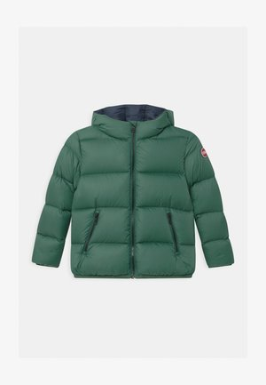 JUNIOR HOODED UNISEX  - Down jacket - iguana/navy blue