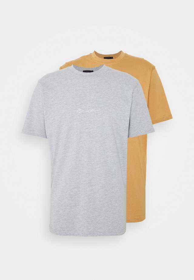 ESSENTIAL SIGNATURE 2 PACK - T-paita - grey/brown