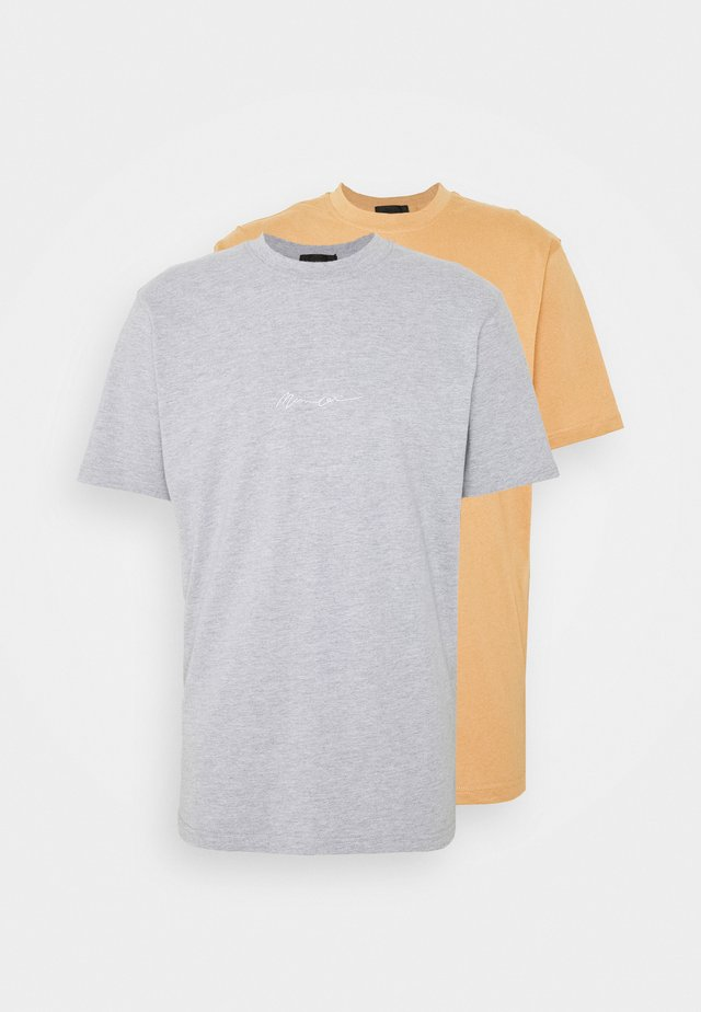ESSENTIAL SIGNATURE 2 PACK - T-shirt basique - grey/brown