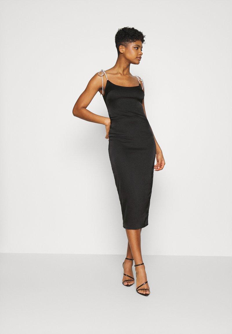 Missguided - COSTELLO TIE STRAP MIDAXI DRESS - Cocktailkjole - black